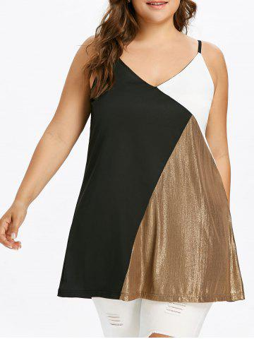 Fancy Plus Size Color Block Tunic Tank Top