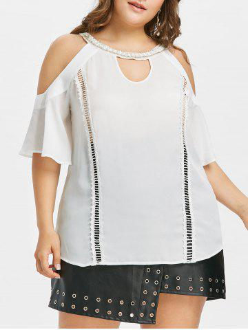 Chic Plus Size Cold Shoulder Keyhole T-shirt