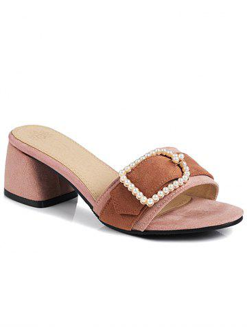 Color Block Chunky Heel Faux Pearl Mules Shoes