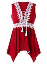 Plus Size Lace Up Plunging Tank Top -