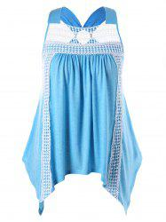 Plus Size Openwork Handkerchief Tank Top -