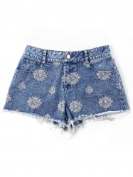 Short En Denim à Ourlet Effiloché Brodé -