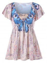 Flare Sleeve Butterfly Print T-shirt -
