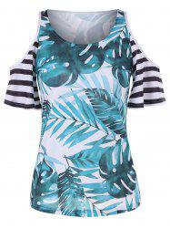 Palm Leaf Print Shoulder Cut T-shirt -