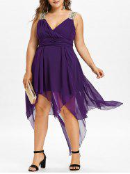 Flowy Asymmetrical Plus Size Empire Waist Dress -
