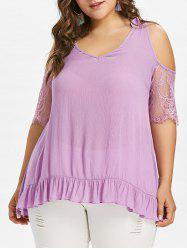 Plus Size Lace Panel Open Shoulder T-shirt -