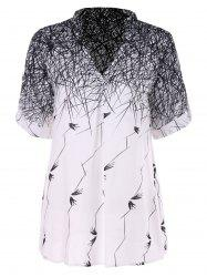 Swallow Lines Print Tunic Blouse -