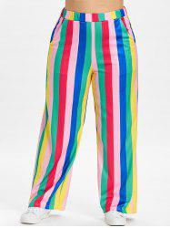 Color Block Plus Size Striped Wide Leg Pants -