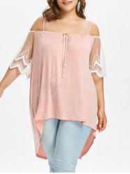 Plus Size Lace Trim High Low Hem Blouse -