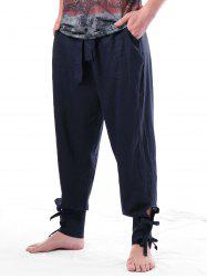 Solid Color Bow Tie Narrow Feet Harem Pants -