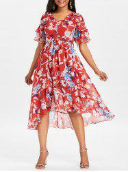 Ruffle High Waisted Chiffon Dress -