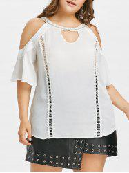 Plus Size Cold Shoulder Keyhole T-shirt -