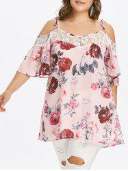 Cold Shoulder Plus Size Floral Print Blouse -