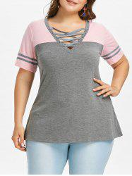 Criss Cross Front Plus Size Short Sleeve T-shirt -