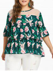 Plus Size Floral Tiered Blouse -