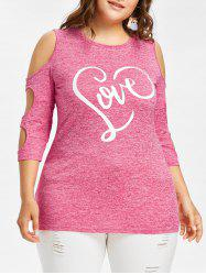 Plus Size Love Cut Out Sleeve T-shirt -