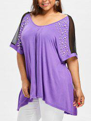 Plus Size Beading Criss Cross Tunic T-shirt -