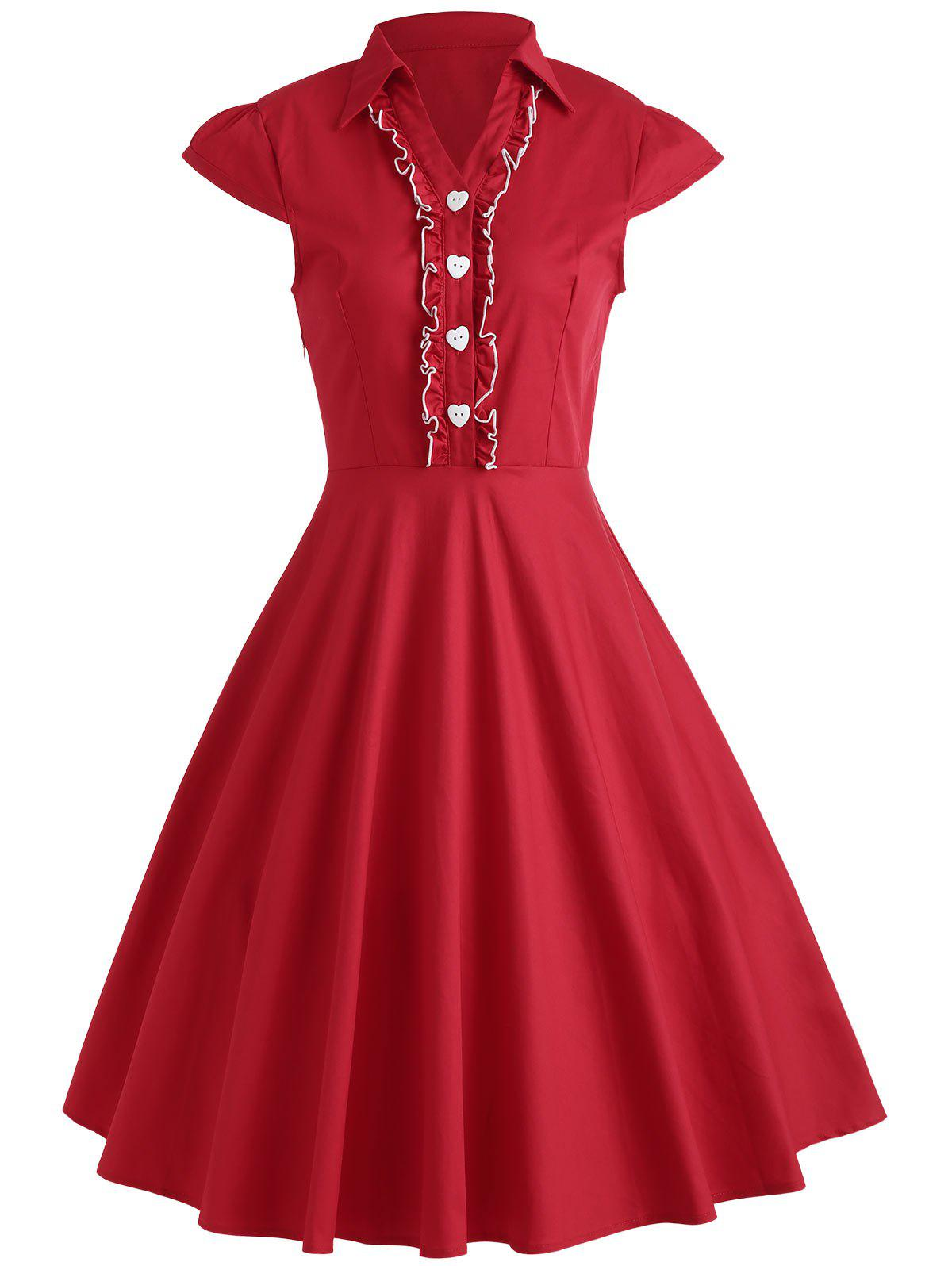 Affordable Ruffle Formal Swing Vintage Dress