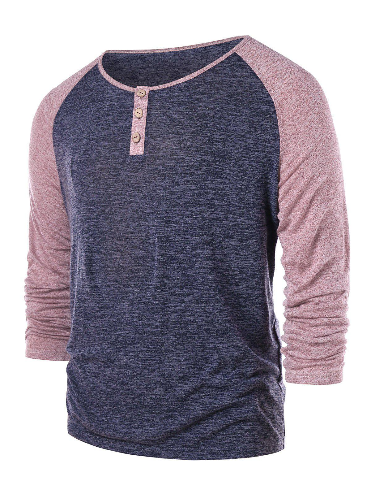 Cheap Raglan Sleeve Henley Tee
