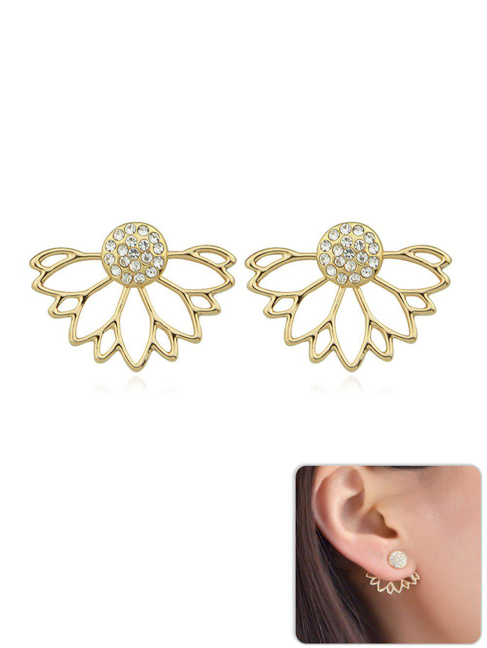 Fancy Hollow out Rhinestone Butterfly Design Stud Earrings