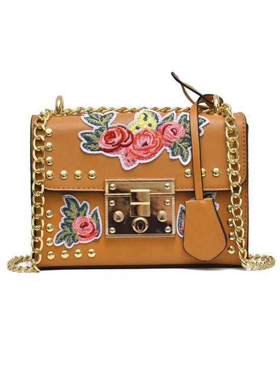 Cheap Vintage Floral Embroidery Patchwork Chain Crossbody Bag