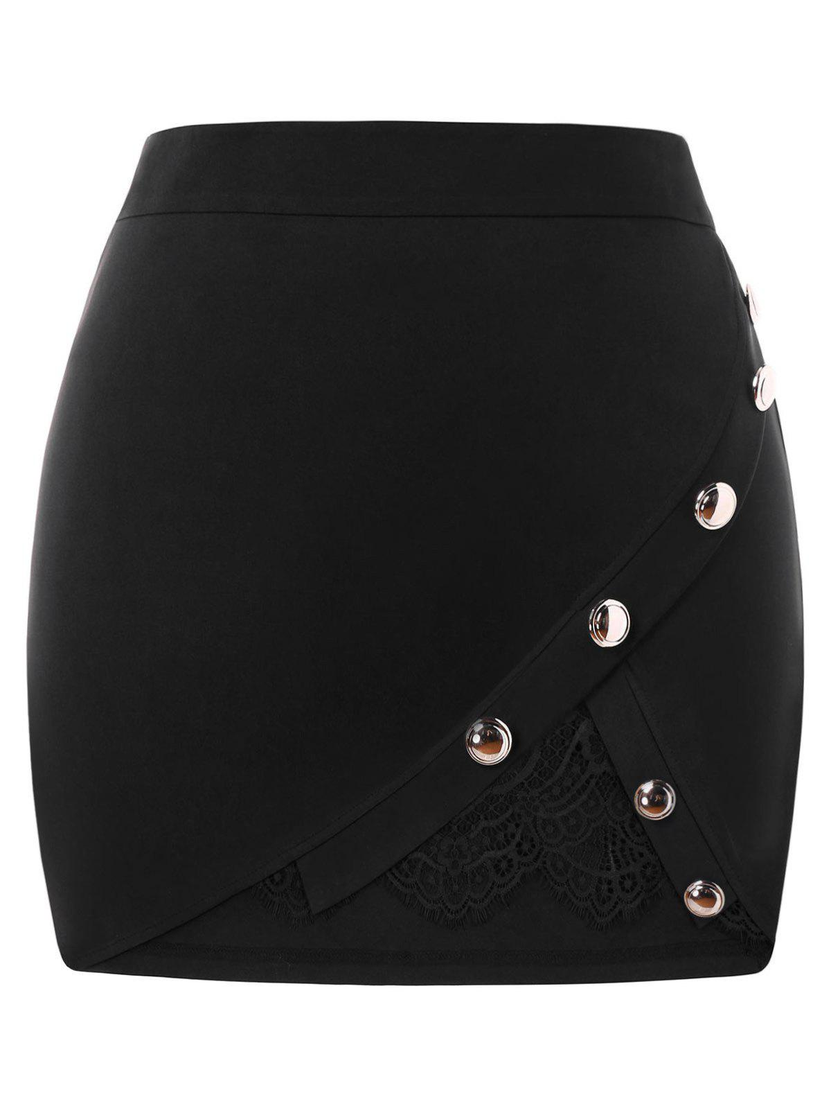Cheap Plus Size Buttoned Lace Insert Mini Skirt