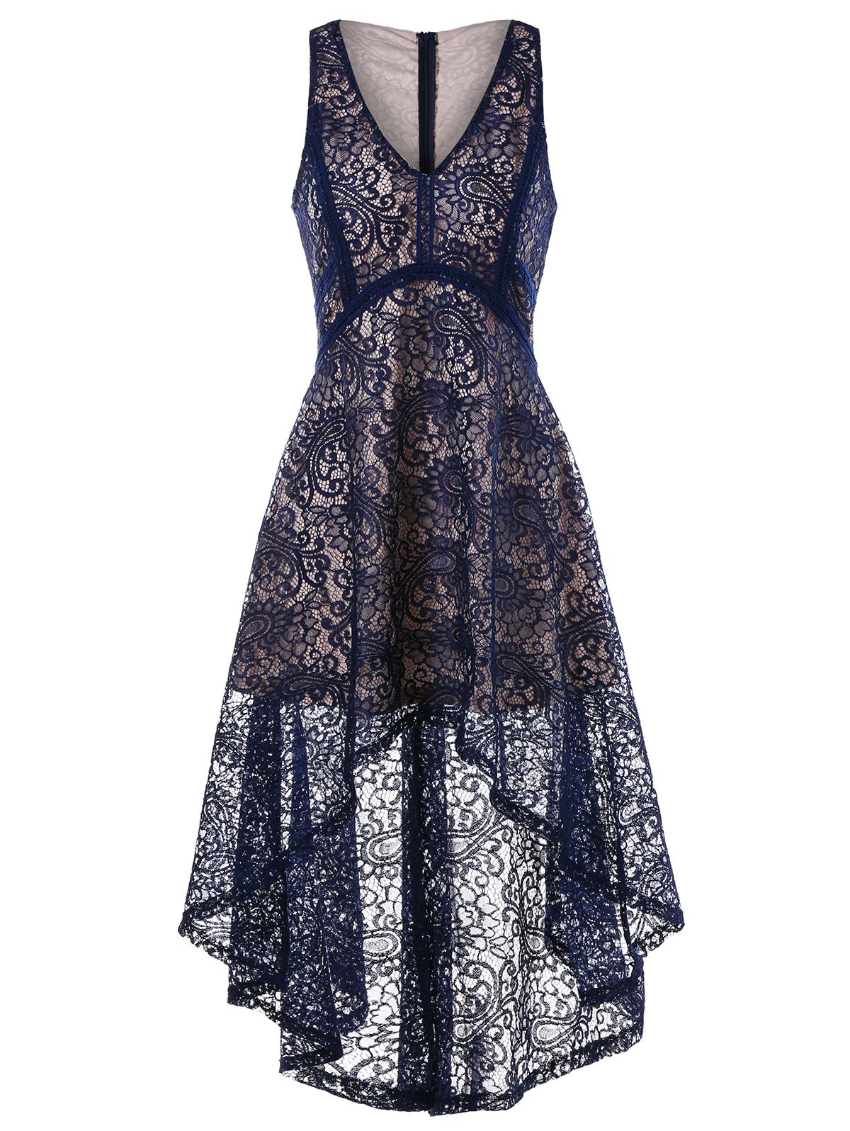 Unique Sleeveless Asymmetrical Lace Dress