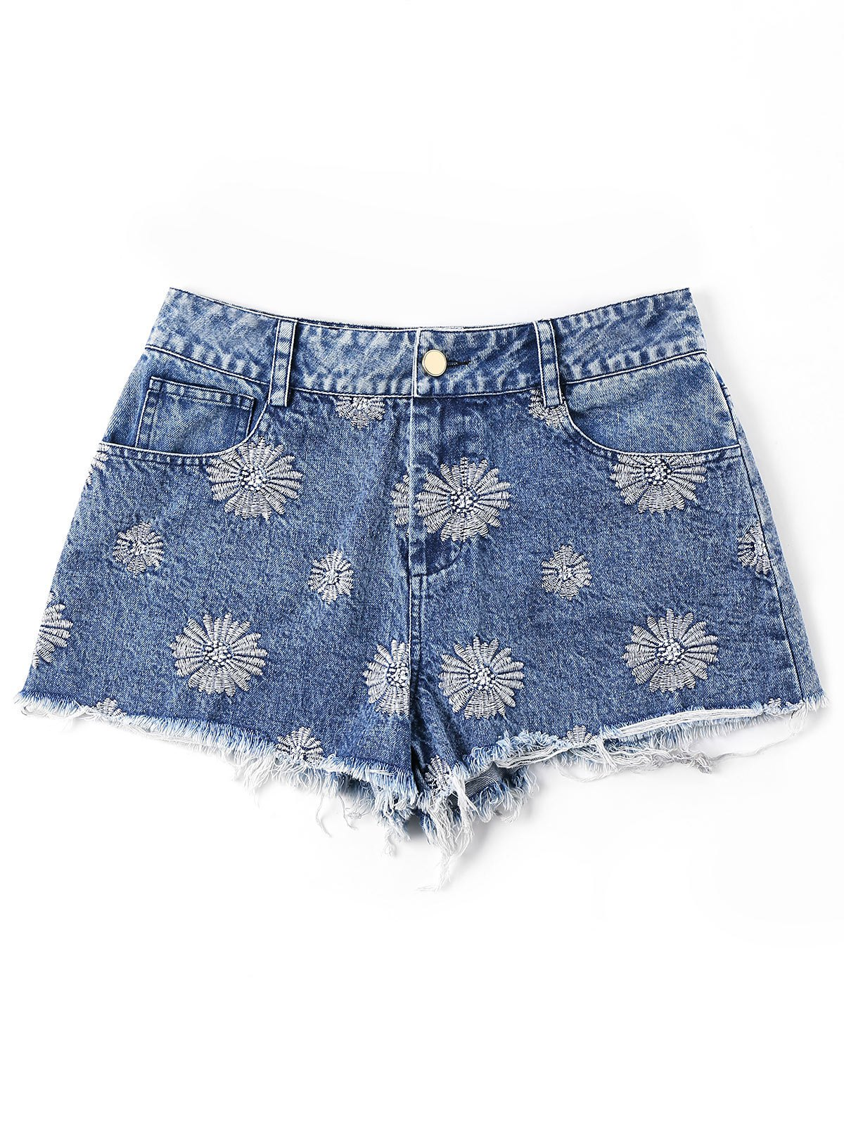 Short En Denim à Ourlet Effiloché Brodé