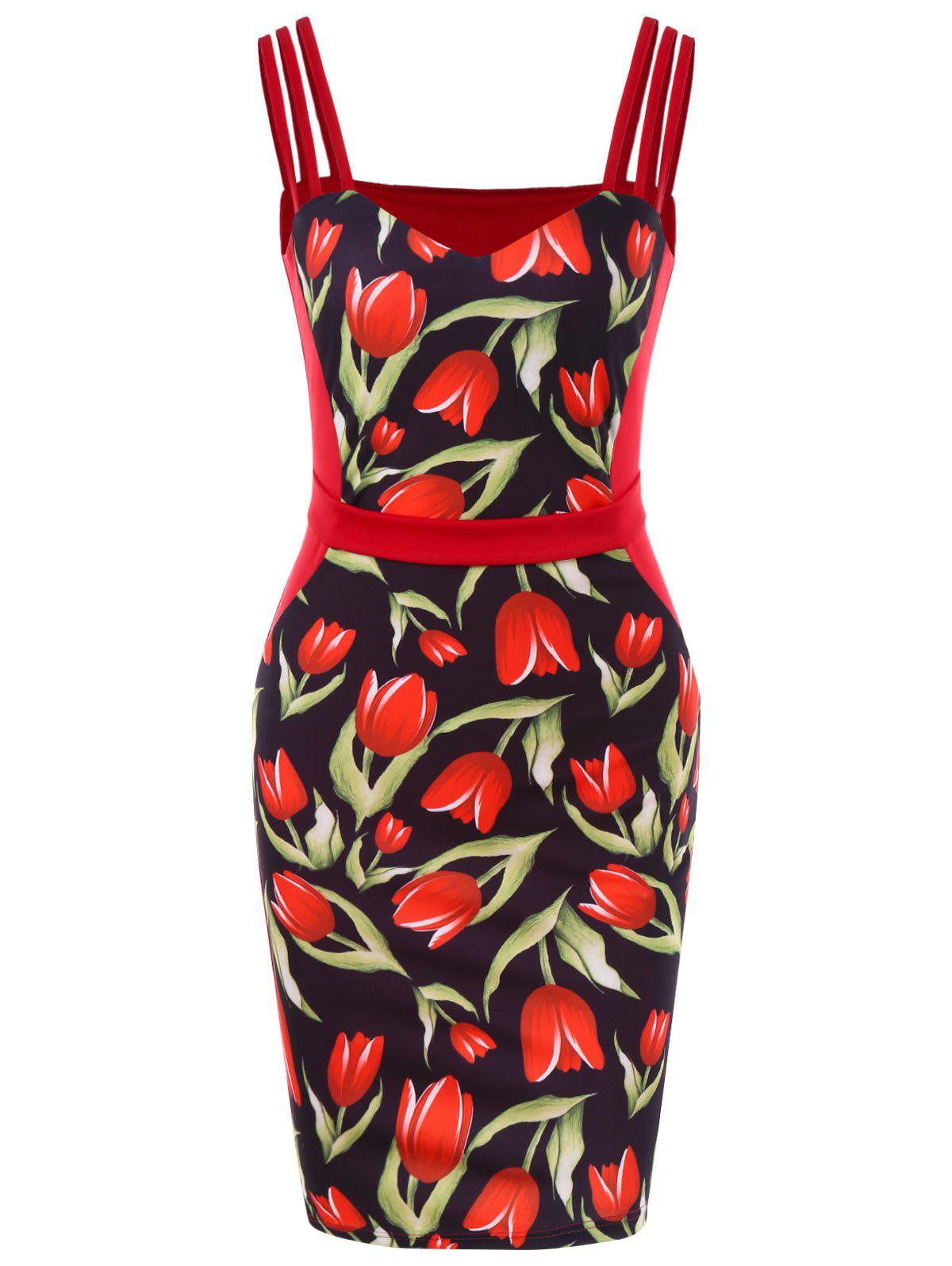 Discount Rose Print Strappy Vintage Bodycon Dress