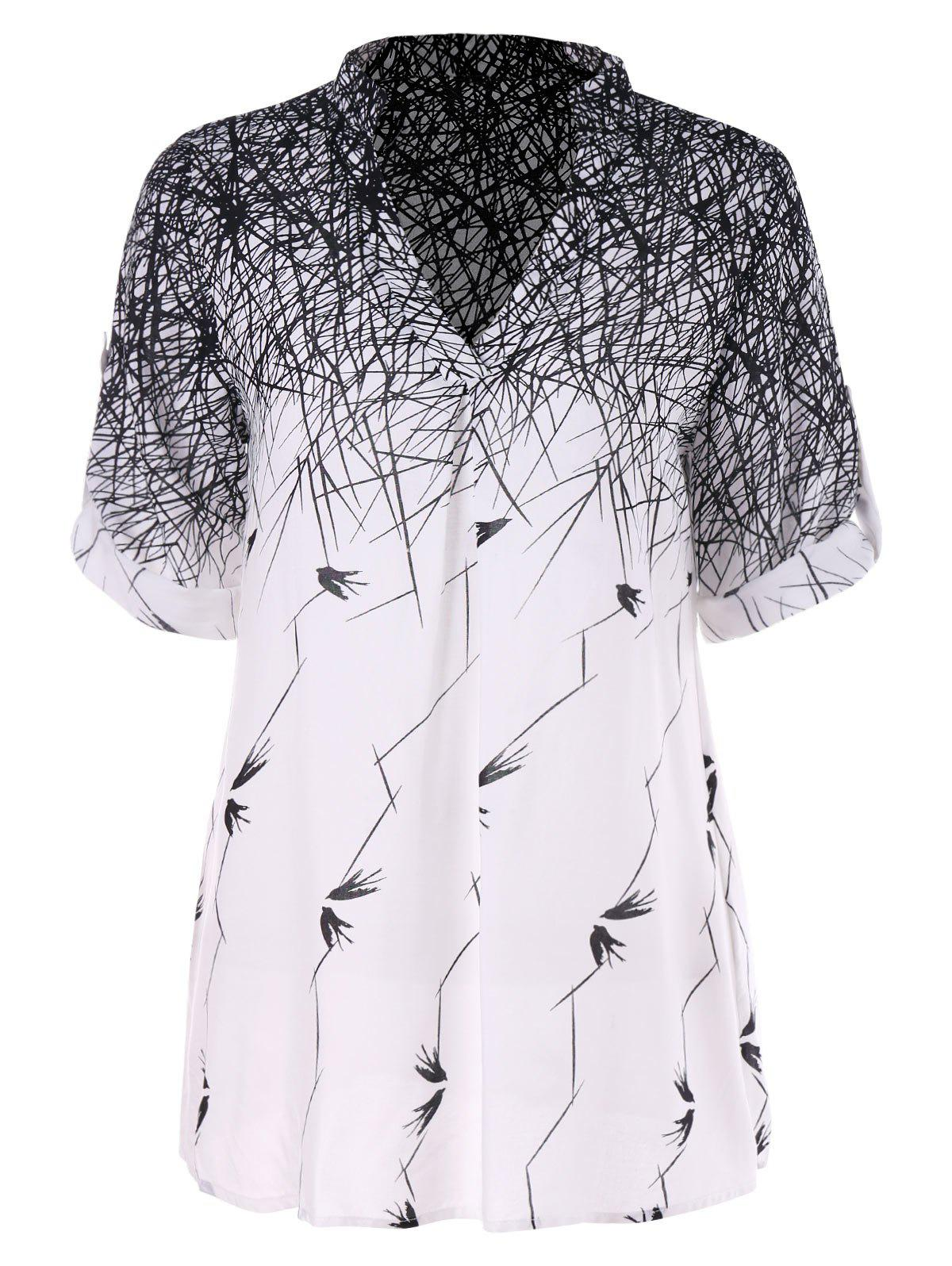 Outfits Swallow Lines Print Tunic Blouse