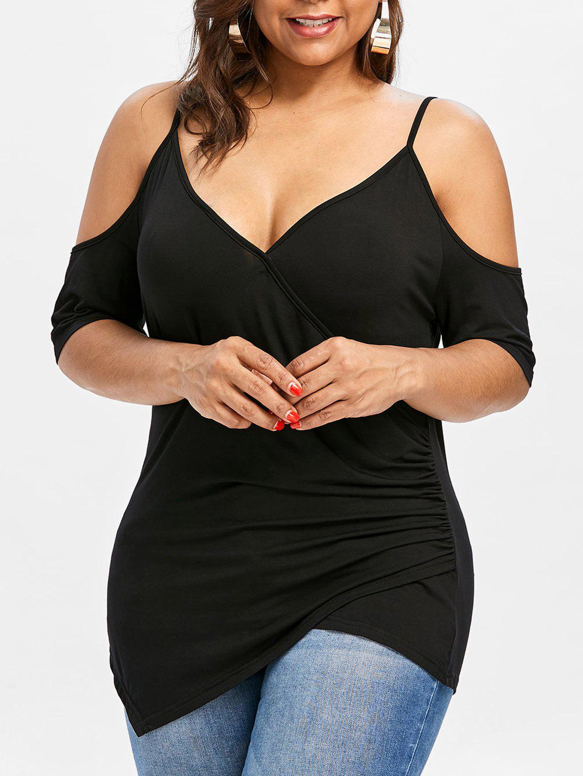 Hot Plus Size Cold Shoulder Asymmetric T-shirt