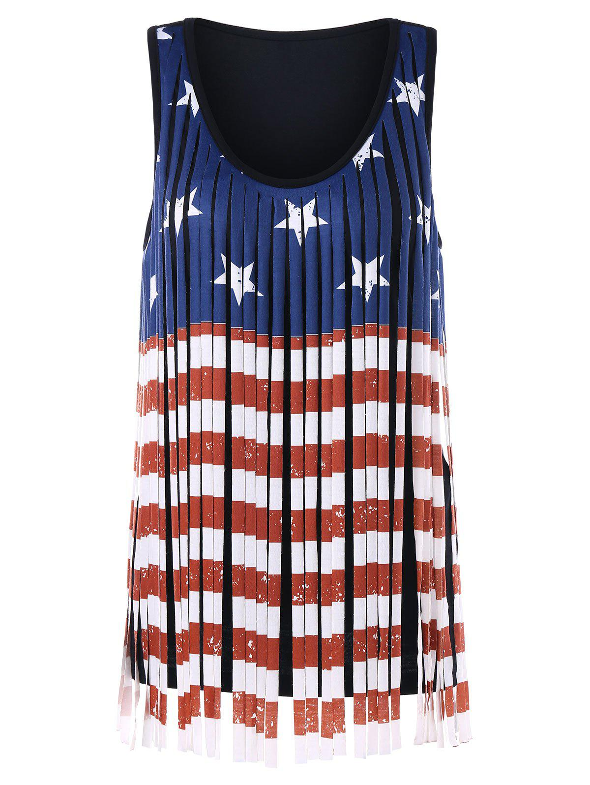 Outfit Patriotism American Flag Fringe Tank Top