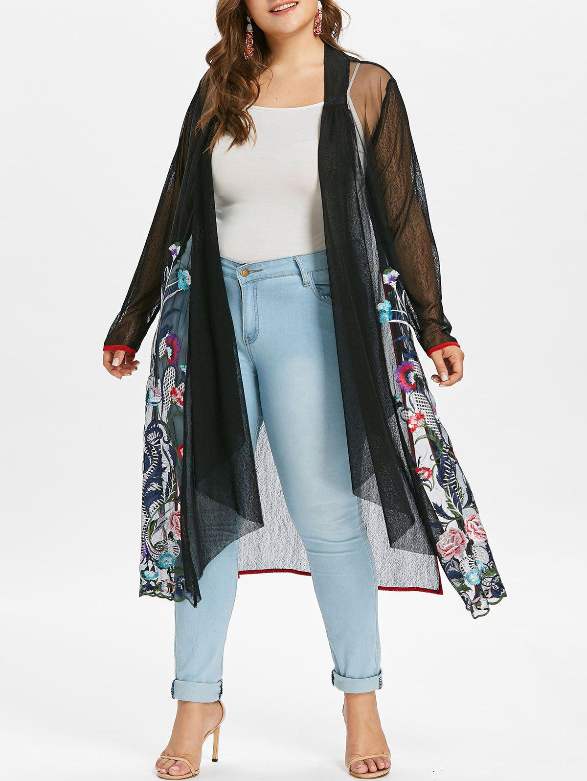 Outfit Plus Size Embroidery Sheer Coat