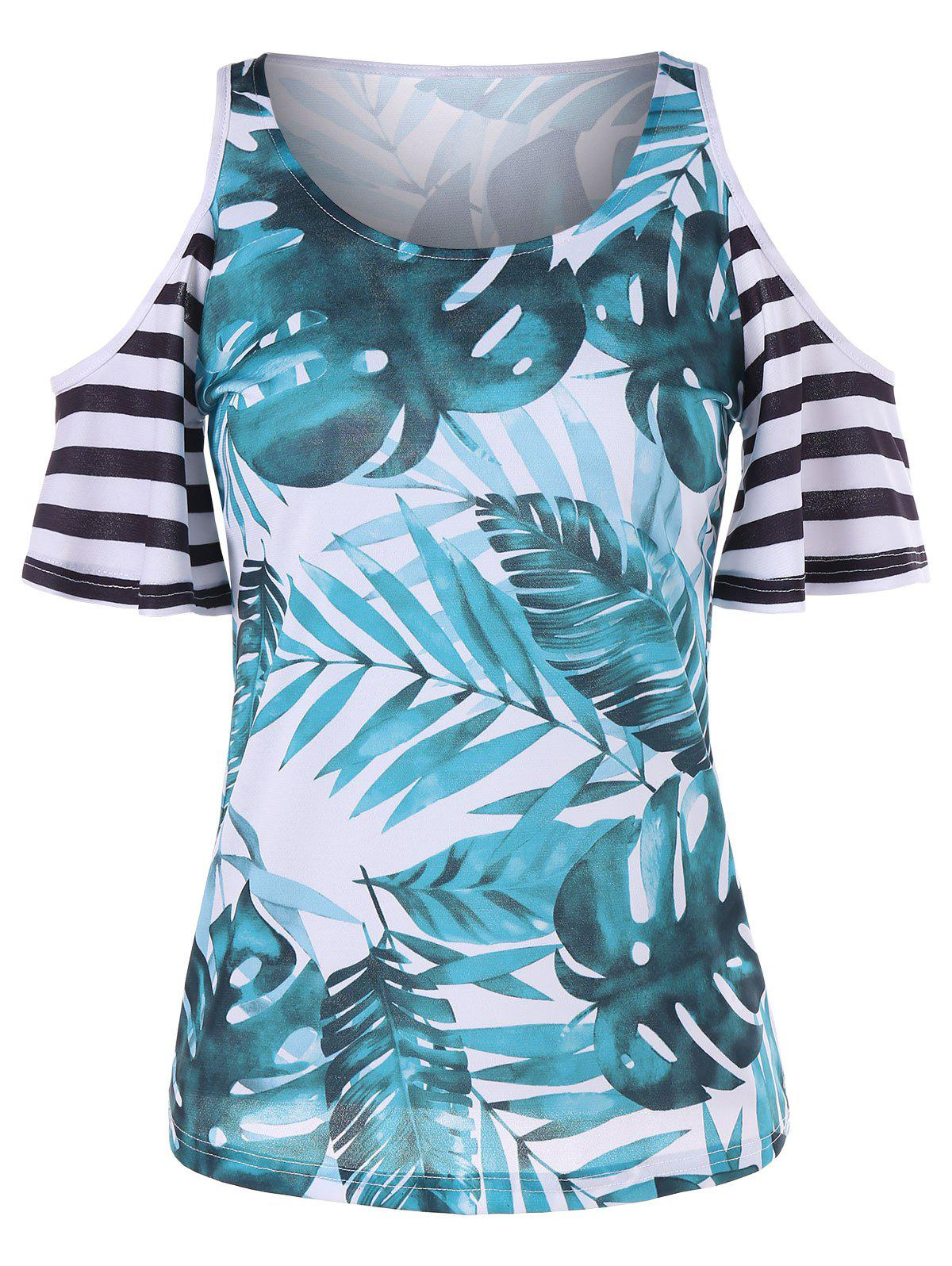 New Palm Leaf Print Shoulder Cut T-shirt