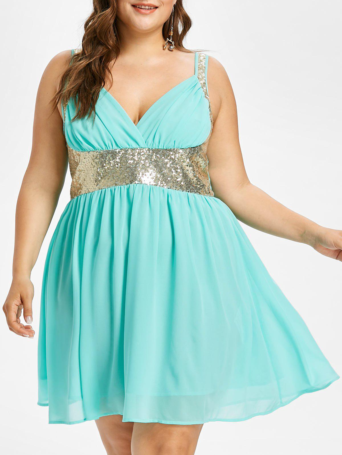 Online Plus Size Sleeveless Sequined Flowy Dress