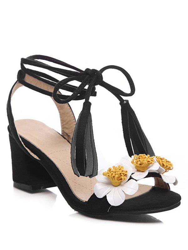 Unique Chunky Heel Tassel Flower Ankle Strap Sandals