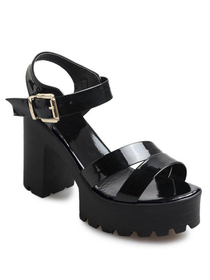 Trendy Casual Block Heel Platform Ankle Strap Sandals