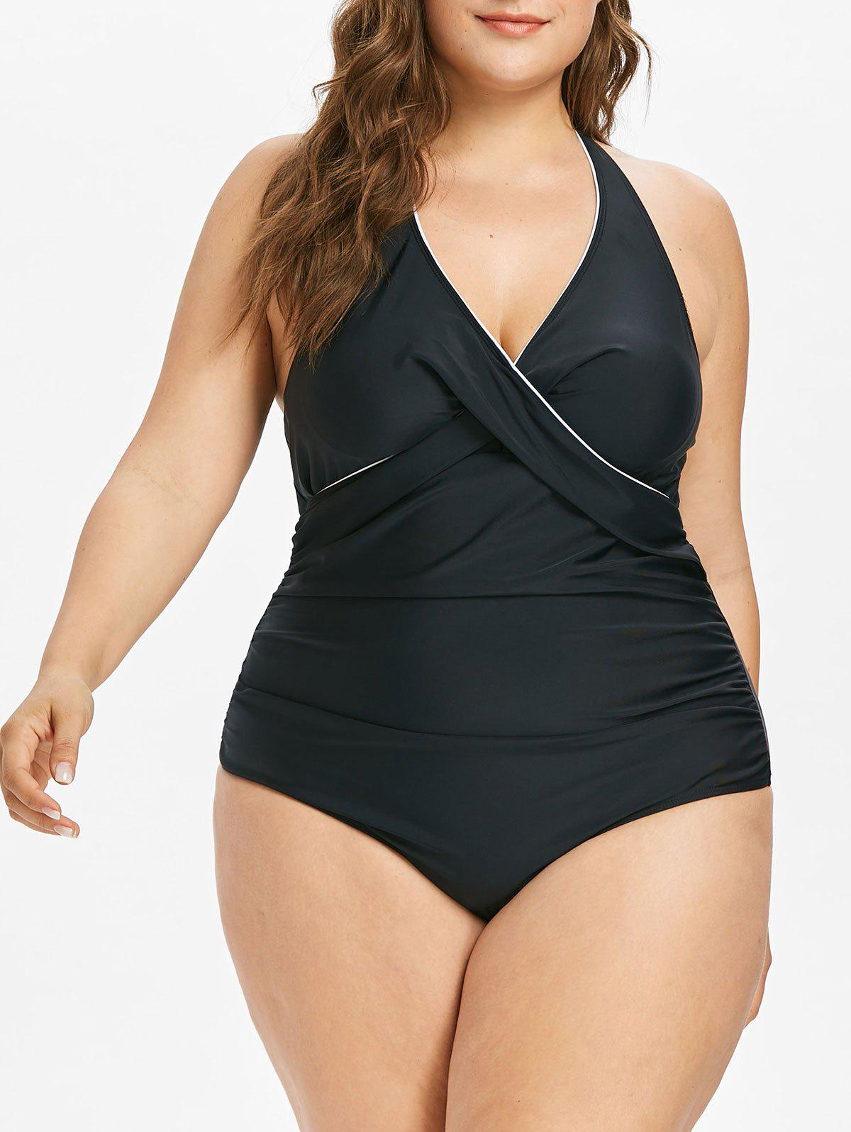 Buy Plus Size Halter Tummy Control Swimsuit