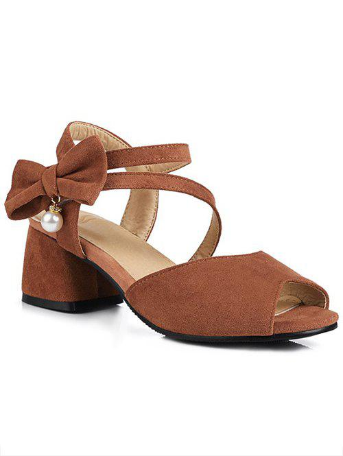 Discount Block Heel Bowknot Peep Toe Sandals