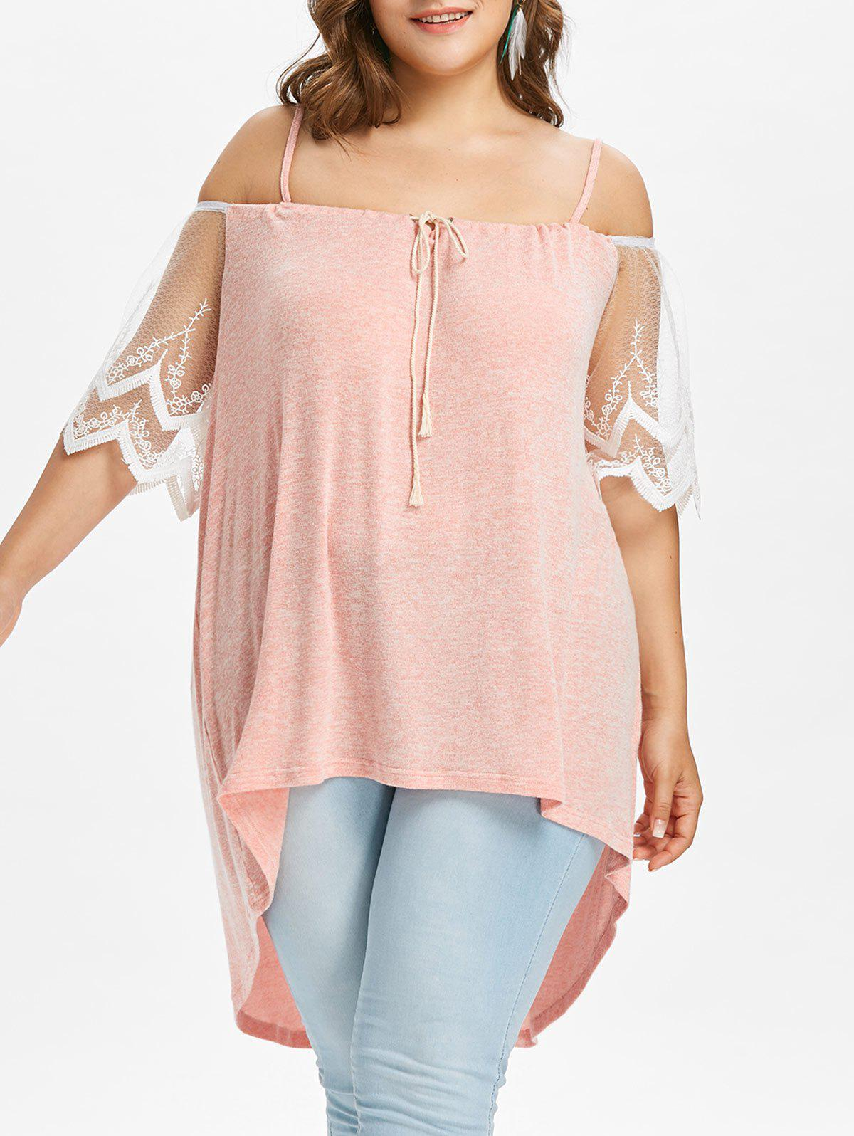 Trendy Plus Size Lace Trim High Low Hem Blouse