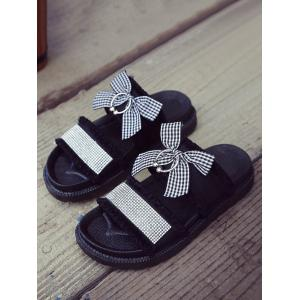 Faux Crystal Bowknot Vacation Platform Sandals -
