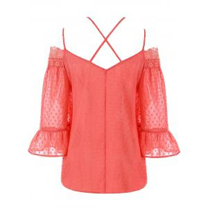 Spaghetti Strap Bell Sleeve Lace Insert Blouse -