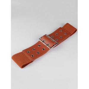 Hollow Out Rivets Metal Buckle Stretchy Waist Belt -