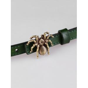 Unique Spider Buckle Faux Leather Skinny Belt -