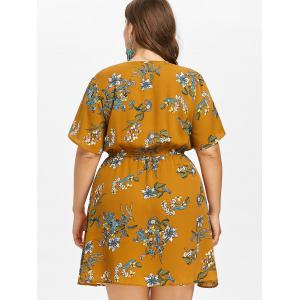 Plus Size Print Low Cut Surplice Dress -