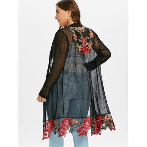Plus Size Sheer Long Embroidered Coat -