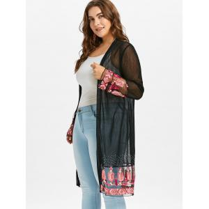 Plus Size Kimono Embroidered Sheer Coat -
