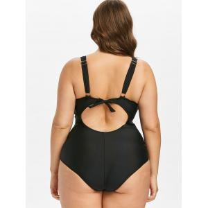 Plus Size Snakeskin Surplice One Piece Swimwear -