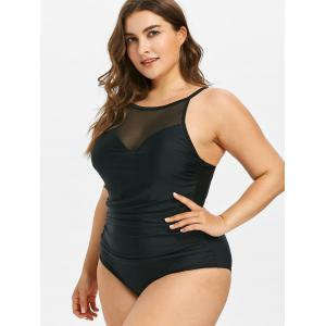 Plus Size Mesh Insert Ruched Swimsuit -