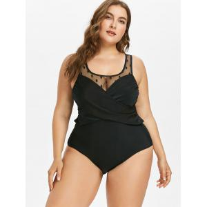 Plus Size Mesh Insert Swimsuit -